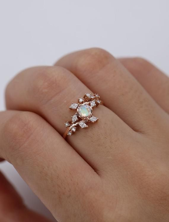 Moonstone engagement ring Rose gold engagement ring Diamond Cluster ring  Unique Delicate leaf wedding women Bridal Promise Anniversary Gift 85564b7fea29