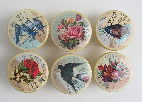 Vintage Style Drawer Knobs - Antique Yellow with Birds Flower, Vintage  Postcard Images - Wood Knobs-1 1/2 inches- Made-to-Order