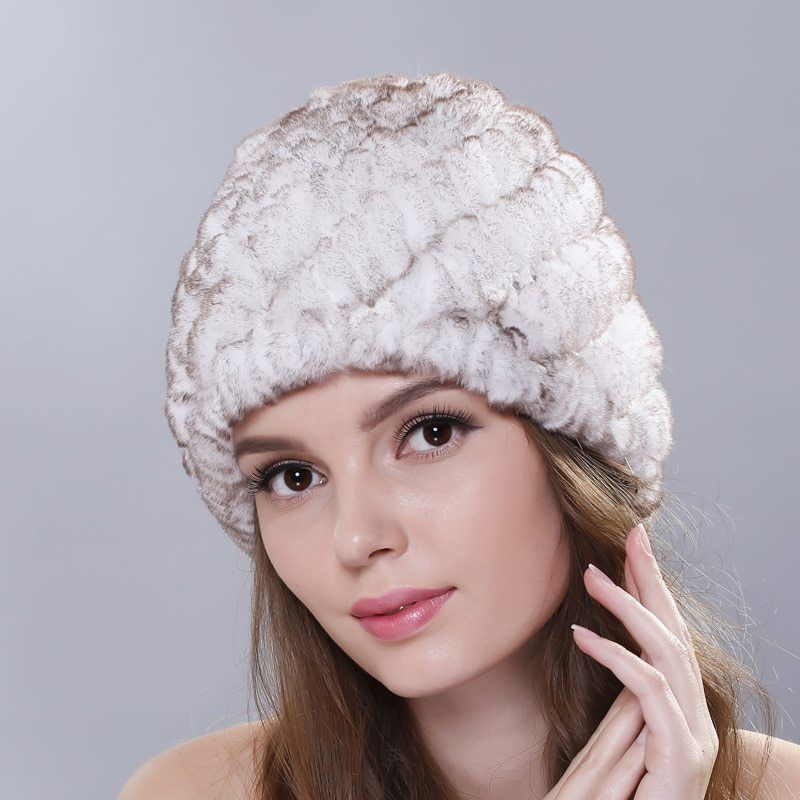 b5ed36bca3d11 Fashion Winter Warm Women Beanies Pineapple Cap Fur Beanie Hat Real Natural Genuine  Rex Rabbit Ear Ears Caps Hats Knitted Hats now available on Cheap ...