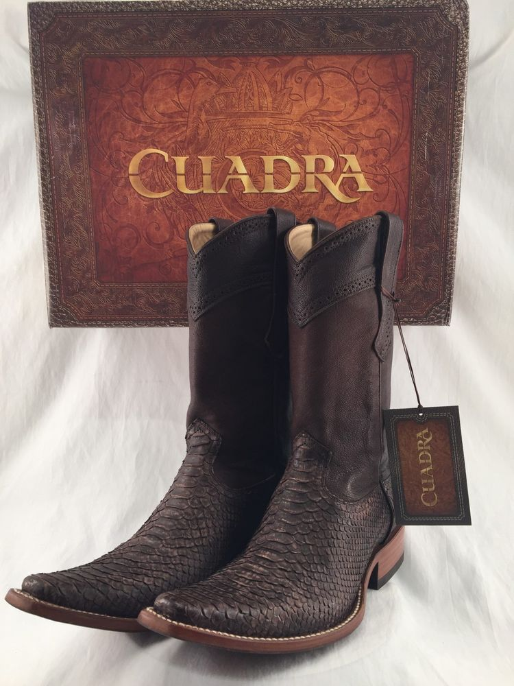 f33cb7a44a4 Details about CUADRA PYTHON SNAKE SKIN brown cowboy boots *ALL SIZES ...