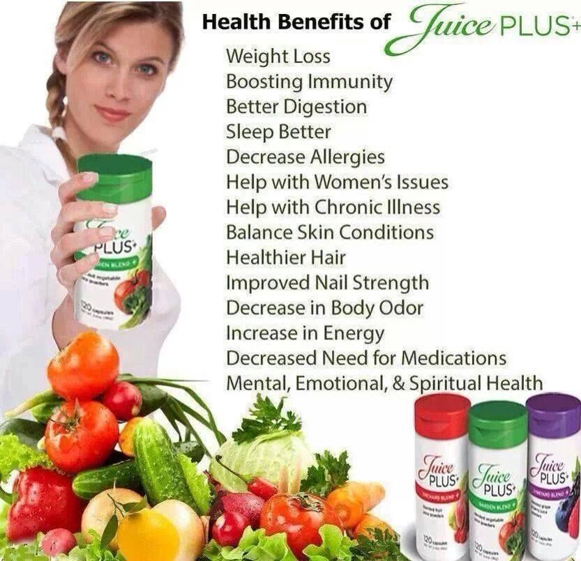 Making no medical claims but these are benefits that have been reported when taking your Juice Plus daily. : )