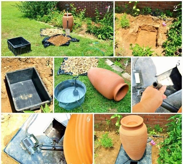 brunnen wasserspiel selber bauen anleitung bilder | garten, Garten und bauen