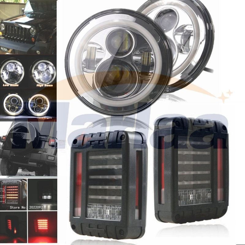 179.00$  Watch here - http://ali3ls.shopchina.info/go.php?t=32789040068 - Pair 40W 7 Inch Round LED Headlight with white angle eye+ 2pcs LED Reverse Brake Tail Lights Lamp for Jeep Wrangler JK 2007-2016 179.00$ #magazineonline