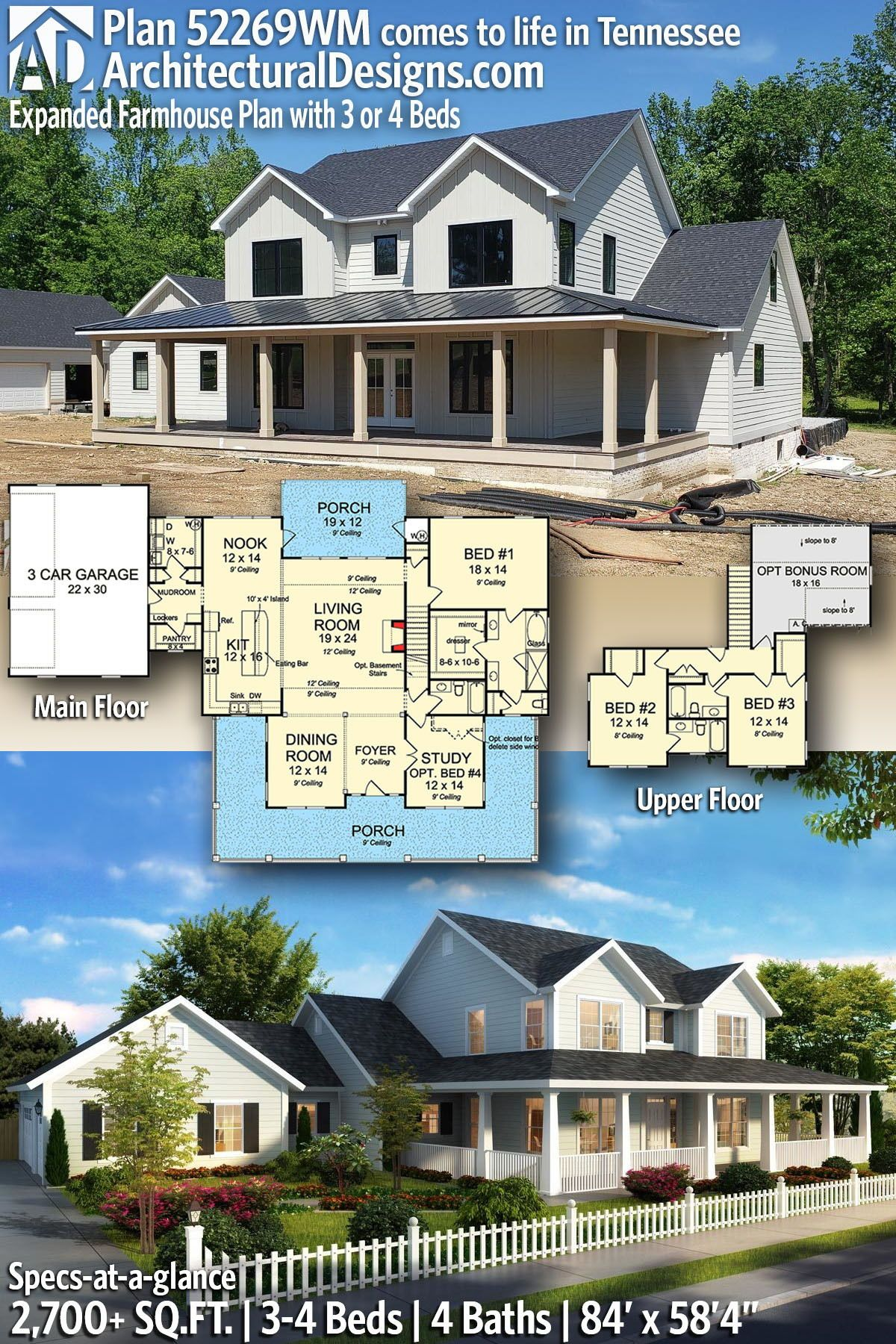 Plan 52269wm Expanded Farmhouse Plan With 3 Or 4 Beds In 2020 Farmhouse Plans Sims House Plans Dream House Exterior
