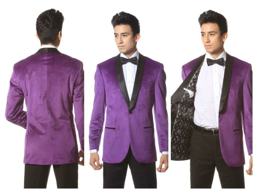 Purple Velvet Blazer with Shawl collar Black satin inner paisley ...