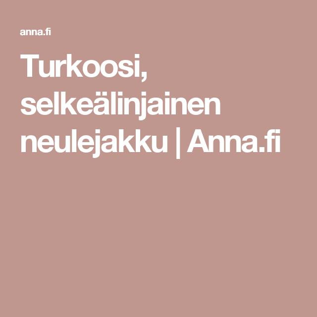 Turkoosi, selkeälinjainen neulejakku   Anna.fi