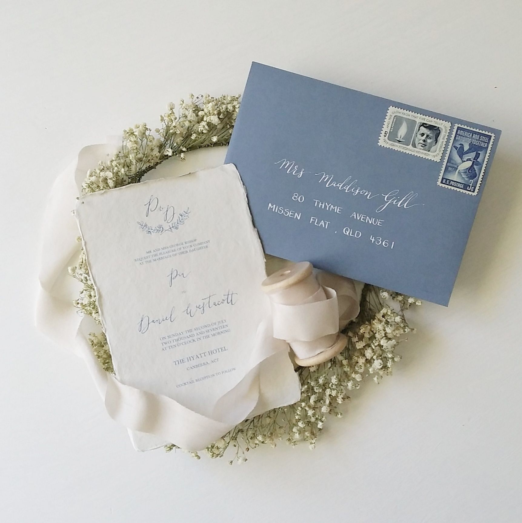 Dusty Blue Font Wedding Invitation On Handmade Paper Dusty Blue Envelope With White Ink Modern Calligraph Wedding Invitations Custom Invitations Wedding Paper