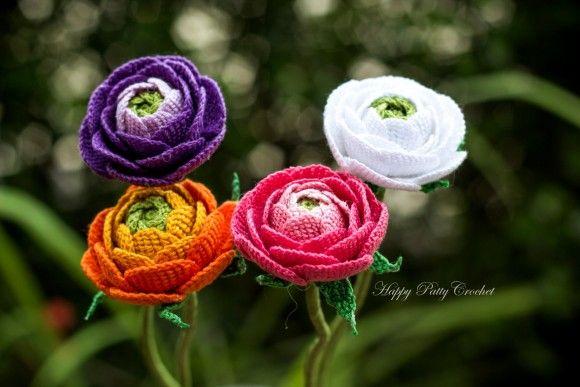 Crochet Ranunculus Flower by Happy Patty Crochet; $5 pattern.