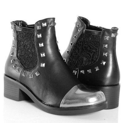 Botki Workery Czarne Z Koronka 4903 6407854125 Oficjalne Archiwum Allegro Rain Boots Rubber Rain Boots Biker Boot