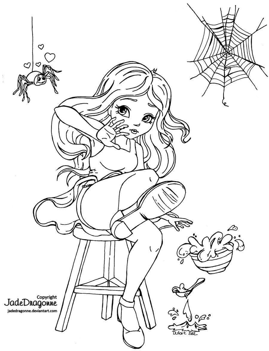 Little Miss Muffet - Lineart by JadeDragonne.deviantart.com   liefde ...