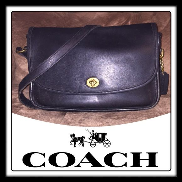 """Vintage Coach CITY Black Leather Cross-body Bag! Vintage Classic Coach City Black Leather Shoulder Cross-body Bag! Features: 100% authentic, gloved tanned cowhide leather, adjustable leather & buckle strap, brass turn-lock closure & hardware, one int zipper pocket, slip pocket under front flap, back ext slip pocket. Coach creed & serial no on inside with Coach hang tag. Measures: 11""""x7 1/4""""x3 1/2"""". Up to 21"""" body / shoulder clearance. Minor ext scratches with nice light distressed look. Very…"""