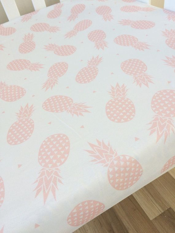 Blush Pink Pineapple Fitted Crib Sheet Tropical Baby Cot Sheet