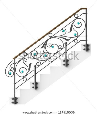 Wrought Iron Stairs Railing With Glass Inserts Wrought Iron