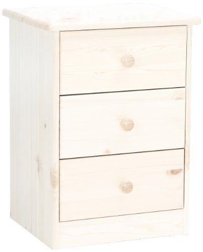 Mesilla de noche, accesorios para el hogar - http://tienda.casuarios.com/steens-17800313-mario-mesilla-de-noche-madera-pino-maciza-57-x-42-x-35-cm-color-blanco-cepillado/