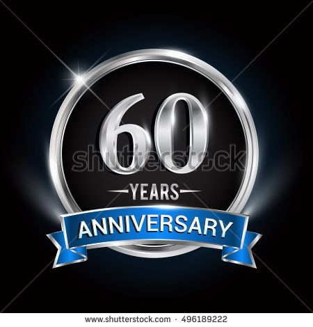 Celebrating 60 Years Anniversary Logo With Silver Ring And Blue