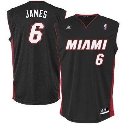 LeBron James Miami Heat  6 NBA Adidas Revolution 30 Youth Jersey Black  (Youth Medium Size 10 12)  998231fb9