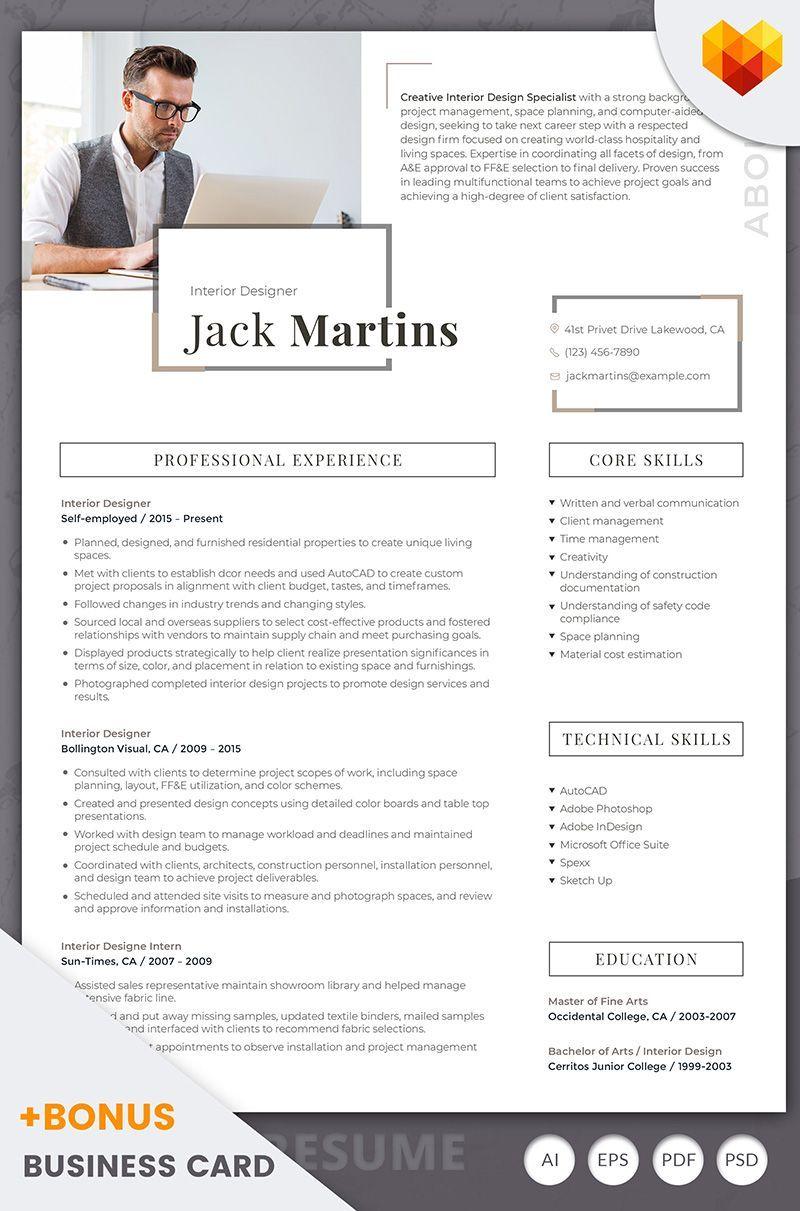 Jack martins interior designer resume template