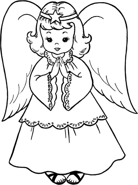Sweet Christmas Angel Coloring Page