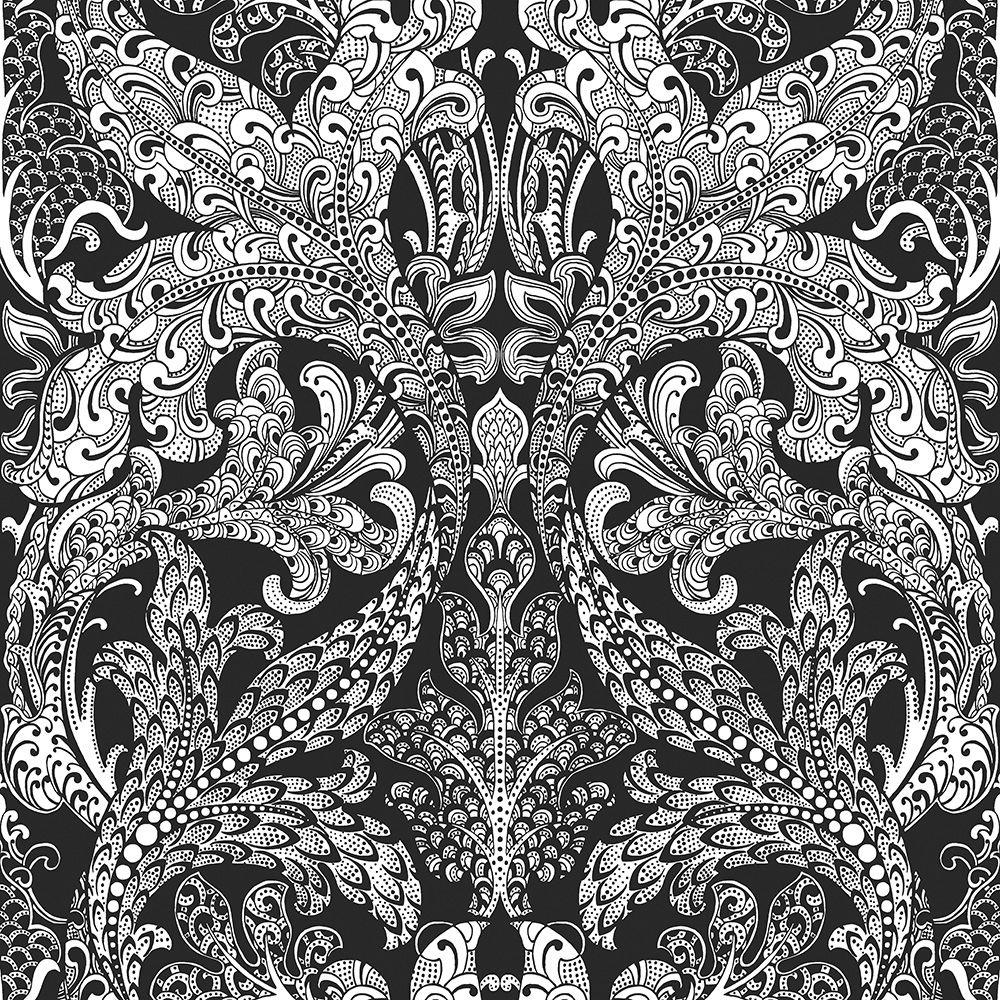 Damask wallpaper hallway ideas  Spirit Wallpaper   Pinterest  White wallpaper and Laundry