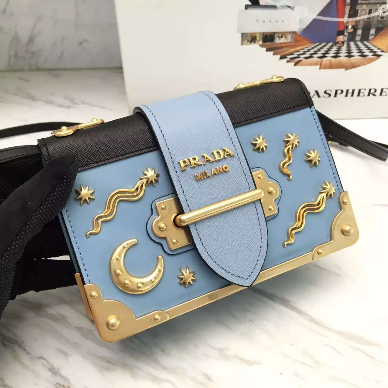 3ac873cf2ffc Replica Prada Moon x Stars Cahier Bag 1BH018 light blue