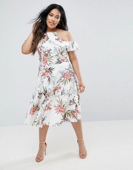 b22c3bc7fc26 Boohoo Plus Floral Frill Midi Skater Dress Plus Size Summer Fashion, Plus  Size Fashion For