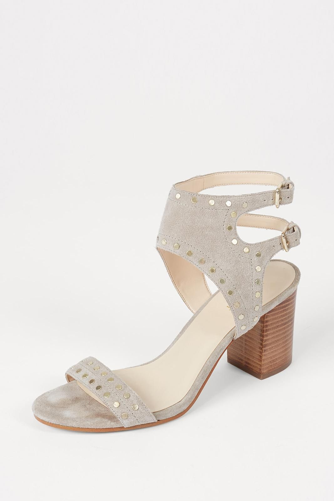 NINE WEST Heel Studed Wood Stack Heel WEST Sandal 527209
