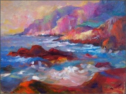 Pacific Blues- impressionist painting of Big Sur Coastline ...