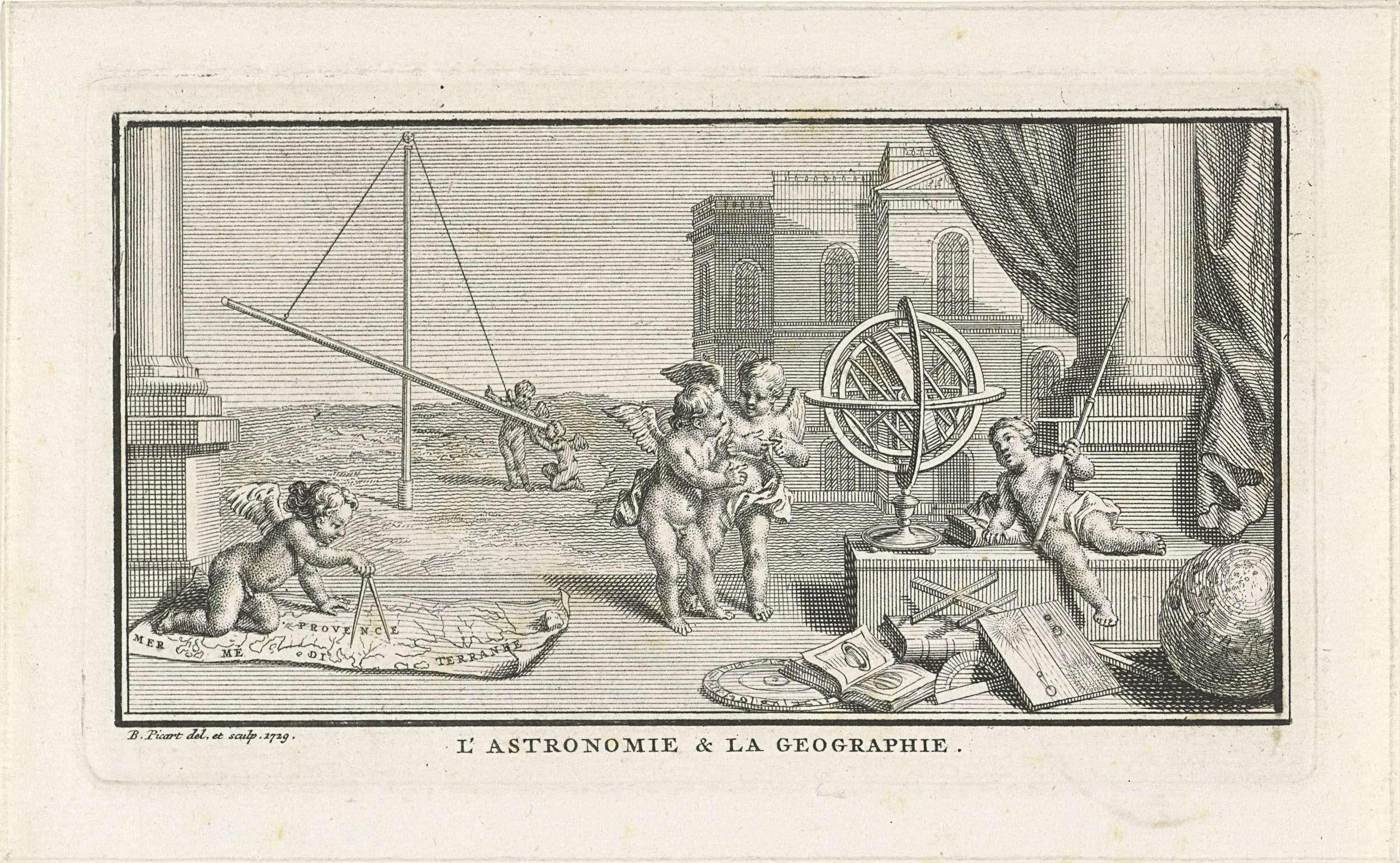 Bernard Picart | Allegorie op astronomie en geografie, Bernard Picart, 1729 | Putti in gesprek bij een globe. Een andere putto tekent met een passer op een landkaart. Op de achtergrond twee putti bij een sterrenkijker.