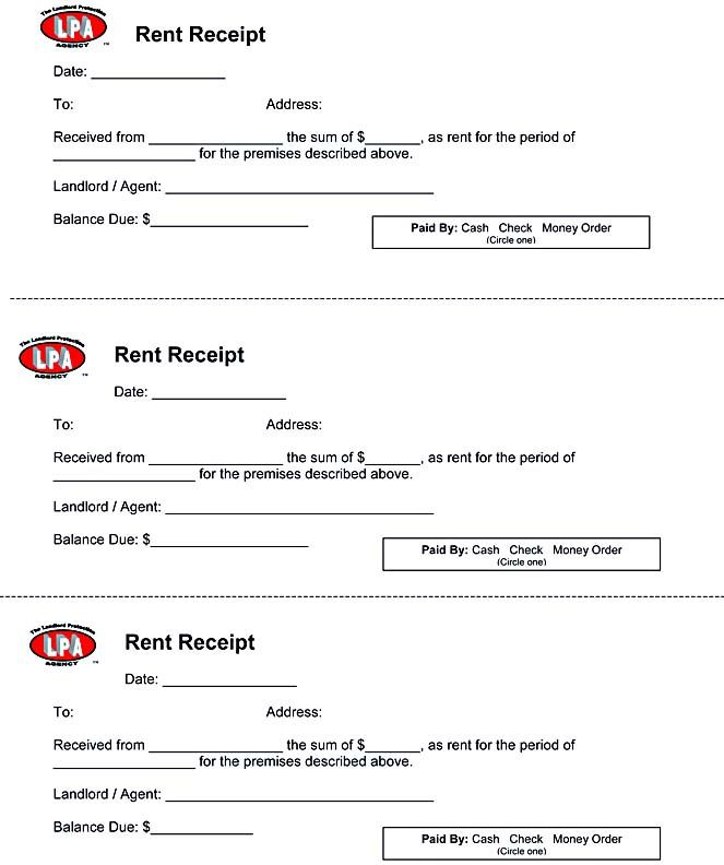 Rent Receipt , Free Rent Receipt Template and What Information to - money receipt word format