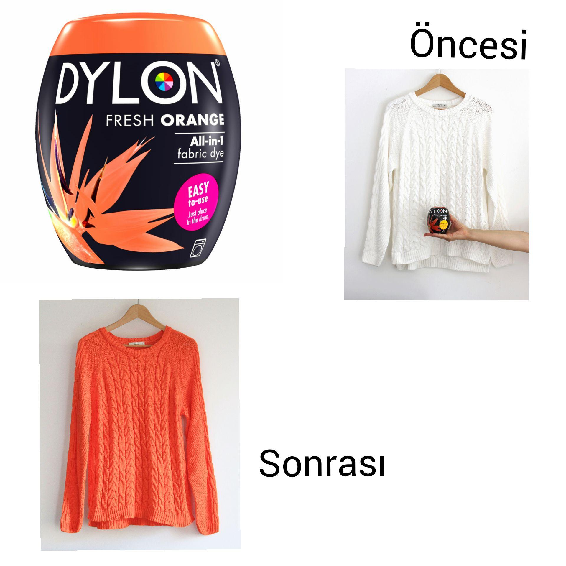 Dylon Pod Turuncu Rengi Fresh Orange Fabric Dye Rengimiz Ile Pamuk Icerikli Bir Kazak Boyadik Turuncu Kumas Renkler