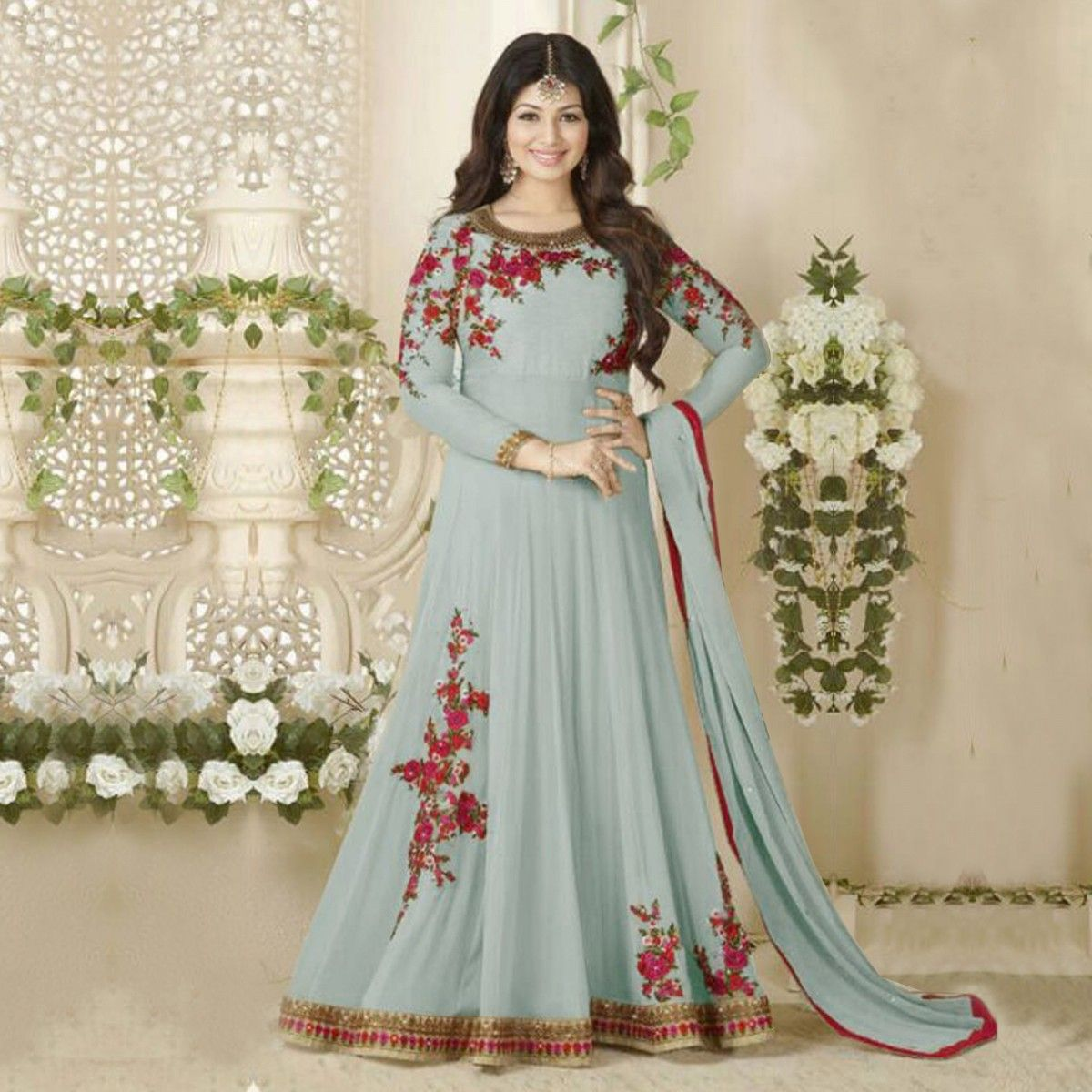 Buy Grey Georgette Anarkali Suit for womens online India, Best ...