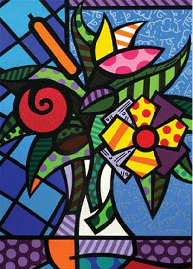 Romero britto montessori art plastique tim e et art - Coloriage fleur britto ...