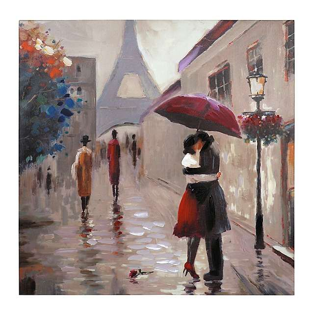 Red Umbrella Parisian Couple Canvas Art Print