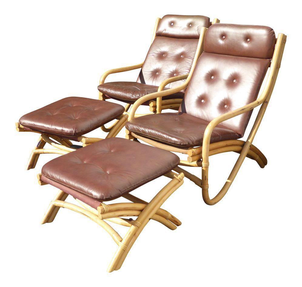 bamboo rattan chairs. Mid-Century Bamboo Rattan Chairs \u0026 Ottomans - A Pair E