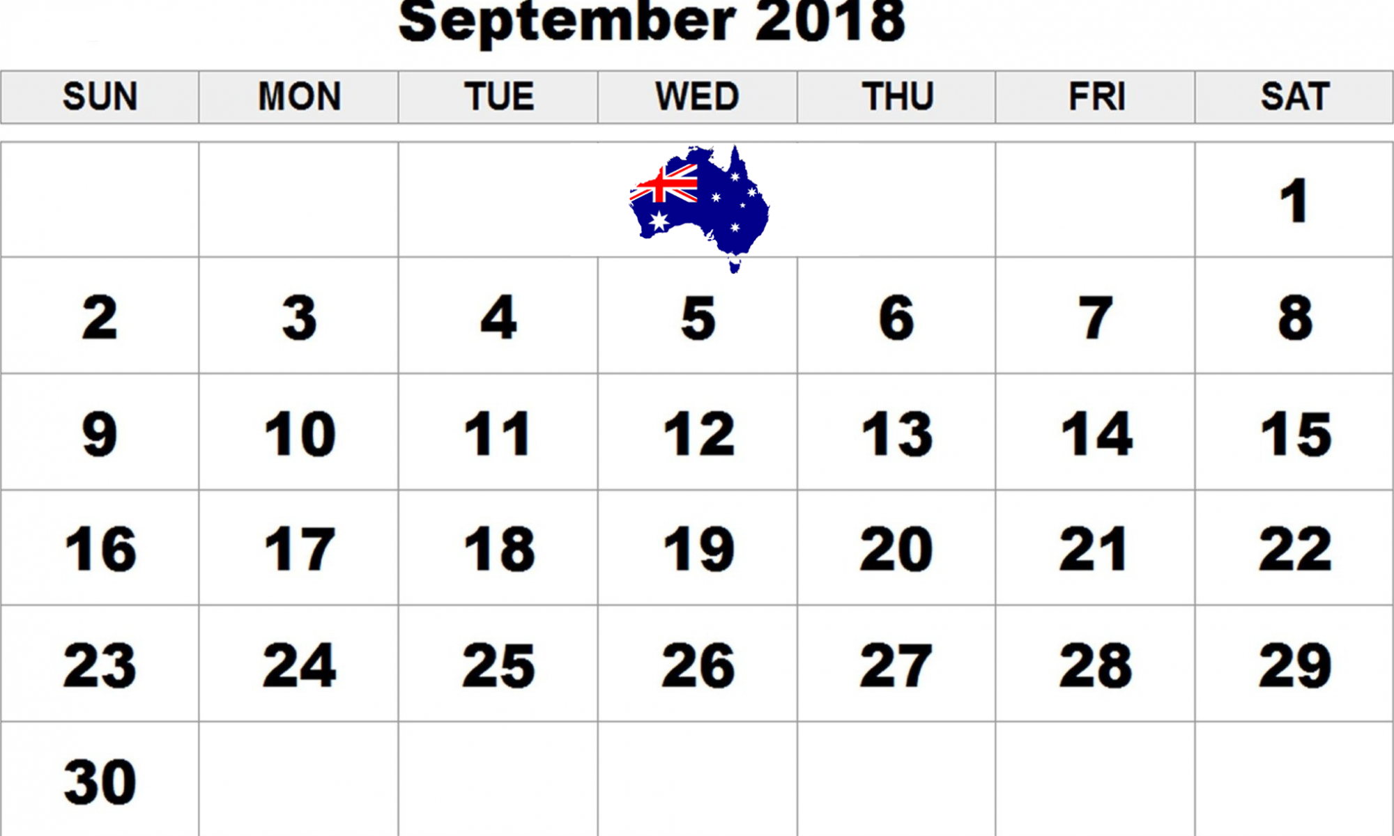 september 2018 calendar australia with holidays calendar australia september calendar 2018 2018 printable calendar