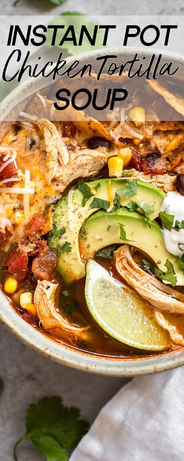 Pot Chicken Tortilla Soup This easy Instant Pot chicken tortilla soup recipe tastes like it's been cooked low and slow, but it's fast and requires minimal effort! This electric pressure cooker soup is healthy and delicious.This easy Instant Pot chicken tortilla soup recipe tastes like it's been cooked low and slow, but it's fast and requires minimal e...