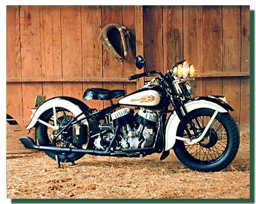 White Black Harley Flathead Motorcycle Poster | Motorcycle Posters