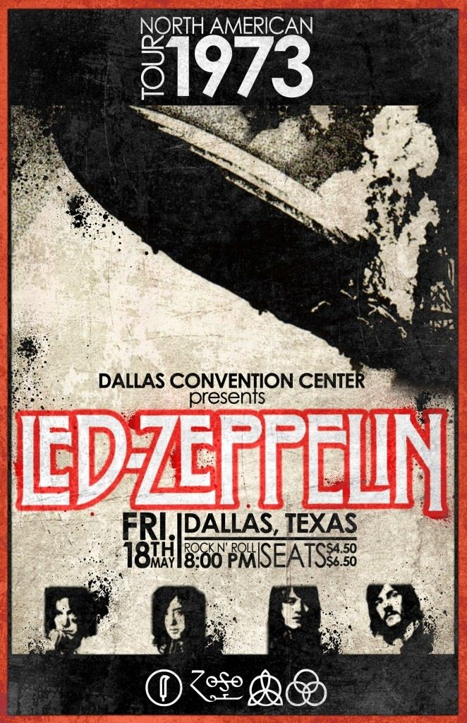 led zeppelin dallas convention center 1973 tour vintage rock concert posters led zeppelin. Black Bedroom Furniture Sets. Home Design Ideas