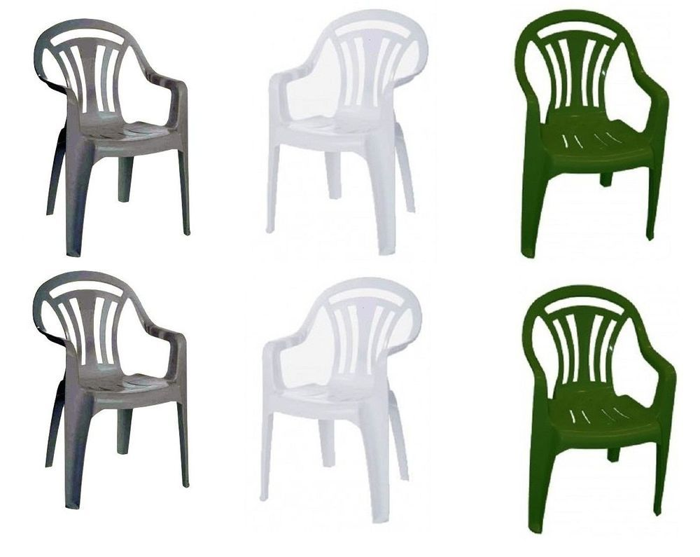 Superb Plastic Chair Low Back Patio Garden Stackable Chairs Pack Of 2,4,6 Green U0026  White