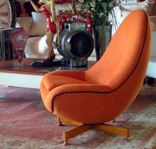 Retro Danish Egg Swivel Chair Timber