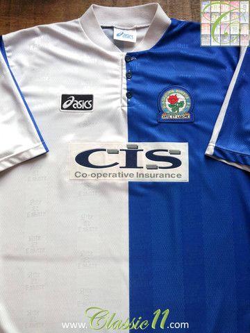 Relive Blackburn Rovers 1996 1997 Season With This Vintage Asics Home Football Shirt Football Shirts Long Sleeve Tshirt Men Blackburn Rovers