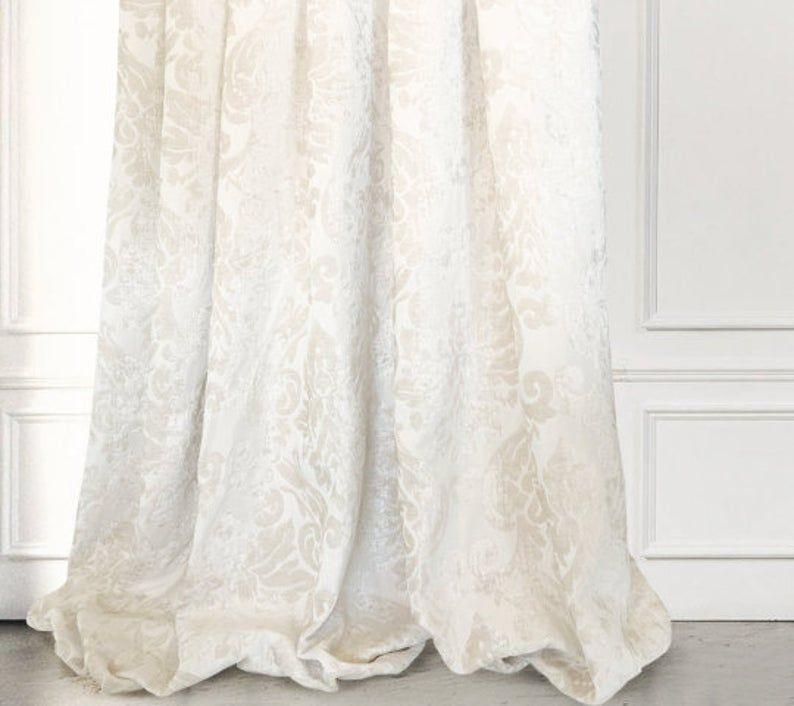 Ivory Cream Velvet Damask Velvet Drapery Curtain | Etsy ...