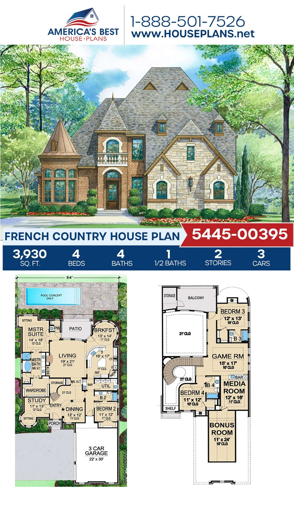 House Plan 5445 00395 French Country Plan 3 930 Square Feet 4 Bedrooms 4 5 Bathrooms French Country House French Country House Plans Country House Plan