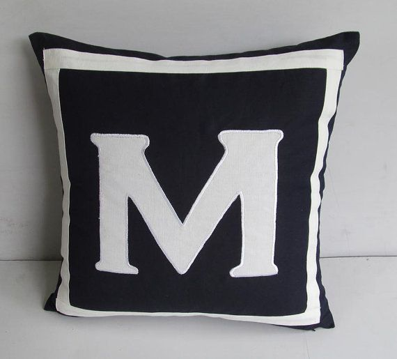 Initial Pillow Covers Navy Blue Initial Pillowmonogrammed Pillownavy Blue Monogram