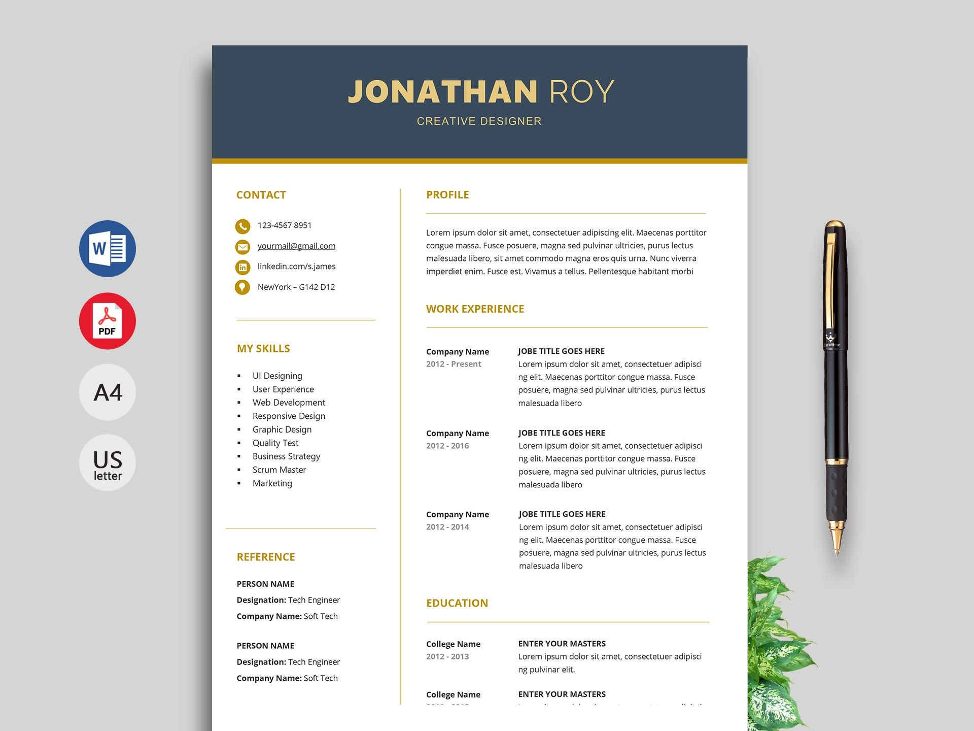 Free Simple Resume & Cv Templates Word Format 2020