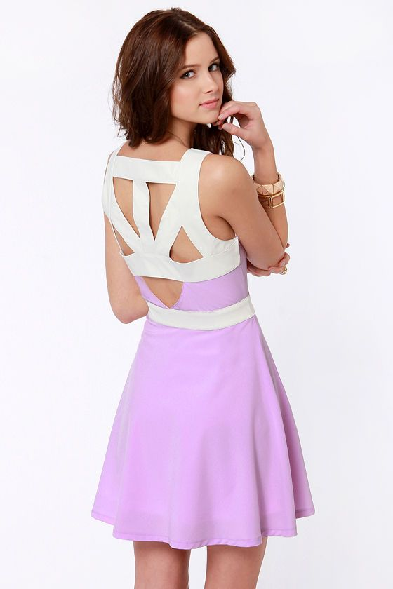a211c206821 Here s a sweet style snippet for you  check out the cute cutouts on the Day  Snipper Cutout Lavender Dress! Light purple dress in a silky weave has just  ...