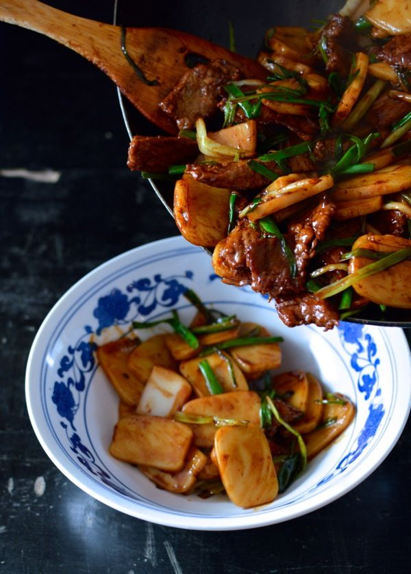 Steak And Scallion Rice Cake Stir Fry Recipe Recipes Rice Cakes Chinese Cooking