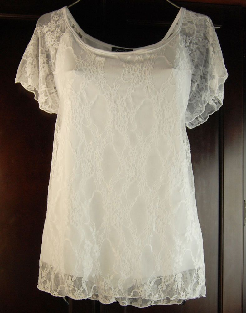 New White Lined Stretch Lace Top Plus Size 3X 20/22 Brittany Black ...