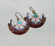 Vintage Gold Washed Sterling Enamel Earrings