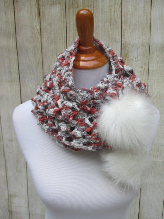 Photo of Crochet Lace Scarf, Crochet Red Scarf, Scarf with faux fur pompoms, Pompom Scarf